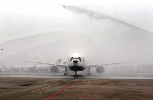 British Airways Inaugural flight is greeted by a water cannon salute in Chengdu