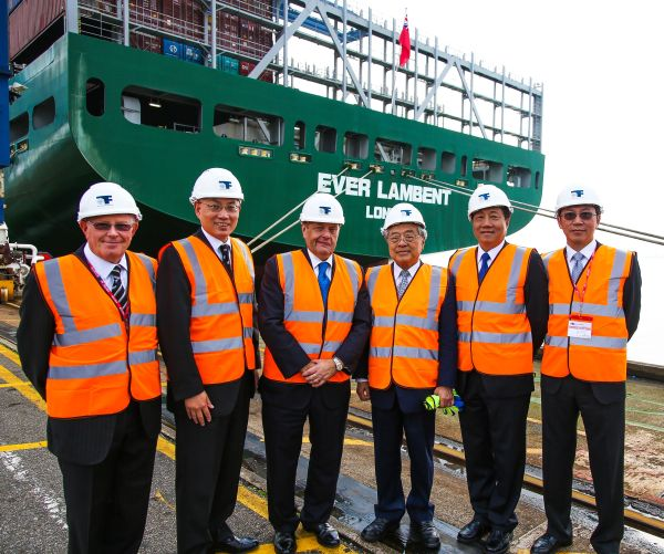 Visit to Port of Felixstowe of John Hayes Minister of Transport. Clemence Cheng CEO of Hutchison Ports UK (second left), John Hayes Ministor or Transport (third left).
