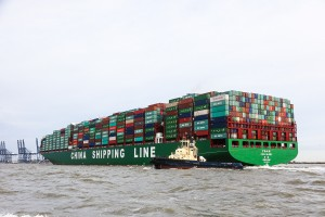 CSCL Globe at The Port of Felixstowe on 7th January 2015