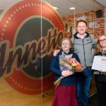 Andrew Baxter, MD of Europa.Annette who the café is named after. competition winner Tracey Butler-Jack