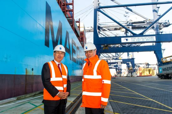 Secretary general of IMO Kitack Lim (left) with Clemence Cheng, Chief executive officer HPUK and Managing Director of Europe Division, during a visit to the Port of Felixstowe, Suffolk, United Kingdom on 17-January-2017.