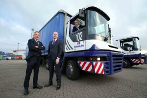 Leading ferry company Stena Line has posted a record year for freight traffic volumes on its Belfast Harbour routes to Cairnryan, Liverpool and Heysham in 2016. For the first time in its history, Stena Line has carried over 500, 000 freight units through Belfast Harbour. Pictured celebrating the success are (left to right): Paul Grant, Stena Line's Trade Director (Irish Sea North), Joe O'Neill, Commercial Director, Belfast Harbour and Anna Breen, Stena Line's Freight Commercial Manager (Irish Sea North).